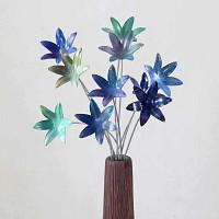 Lot 10 petites fleurs artisanales en acier - Nuances de bleu