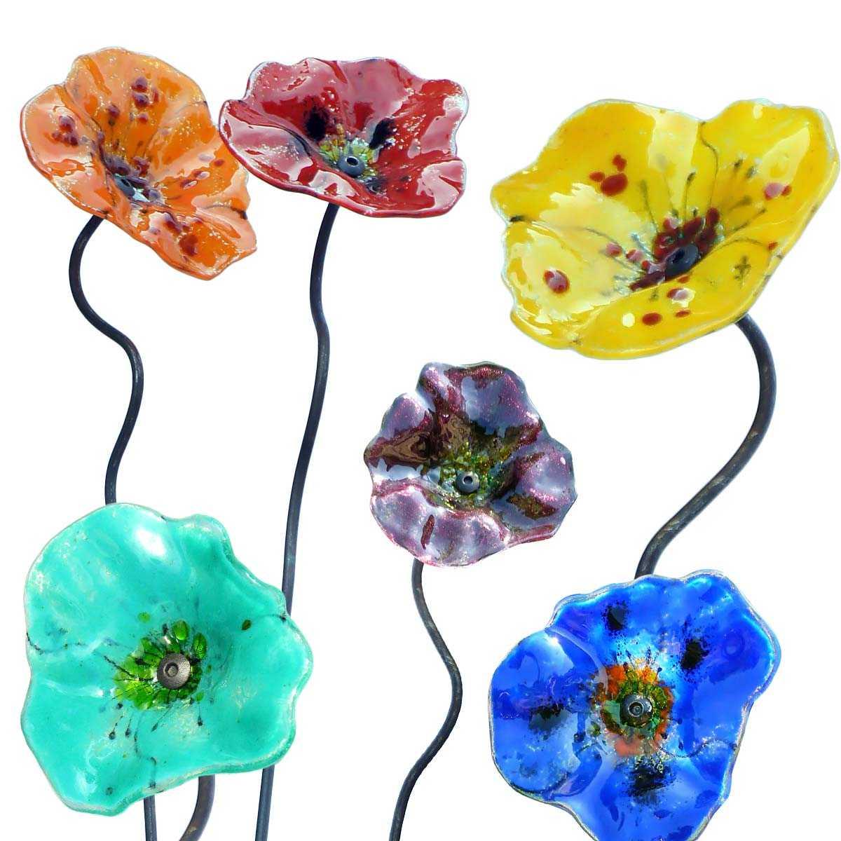 fleur de verre coquelicot artisanale tuteurs d coratifs. Black Bedroom Furniture Sets. Home Design Ideas