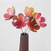 Lot 5 grandes fleurs artisanales en acier - Nuances de rose pastel