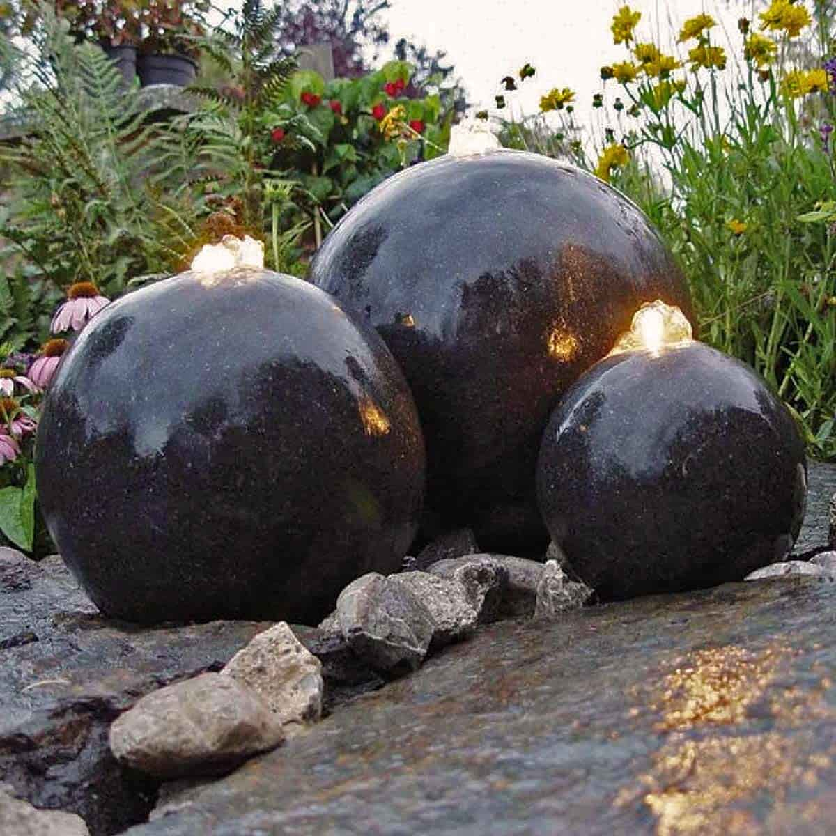 fontaine de jardin lumineuse 3 sph res sujet fontaine pompe bassin. Black Bedroom Furniture Sets. Home Design Ideas