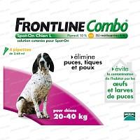 Frontline Combo pour chien de 20 à 40kg - 4 pipettes