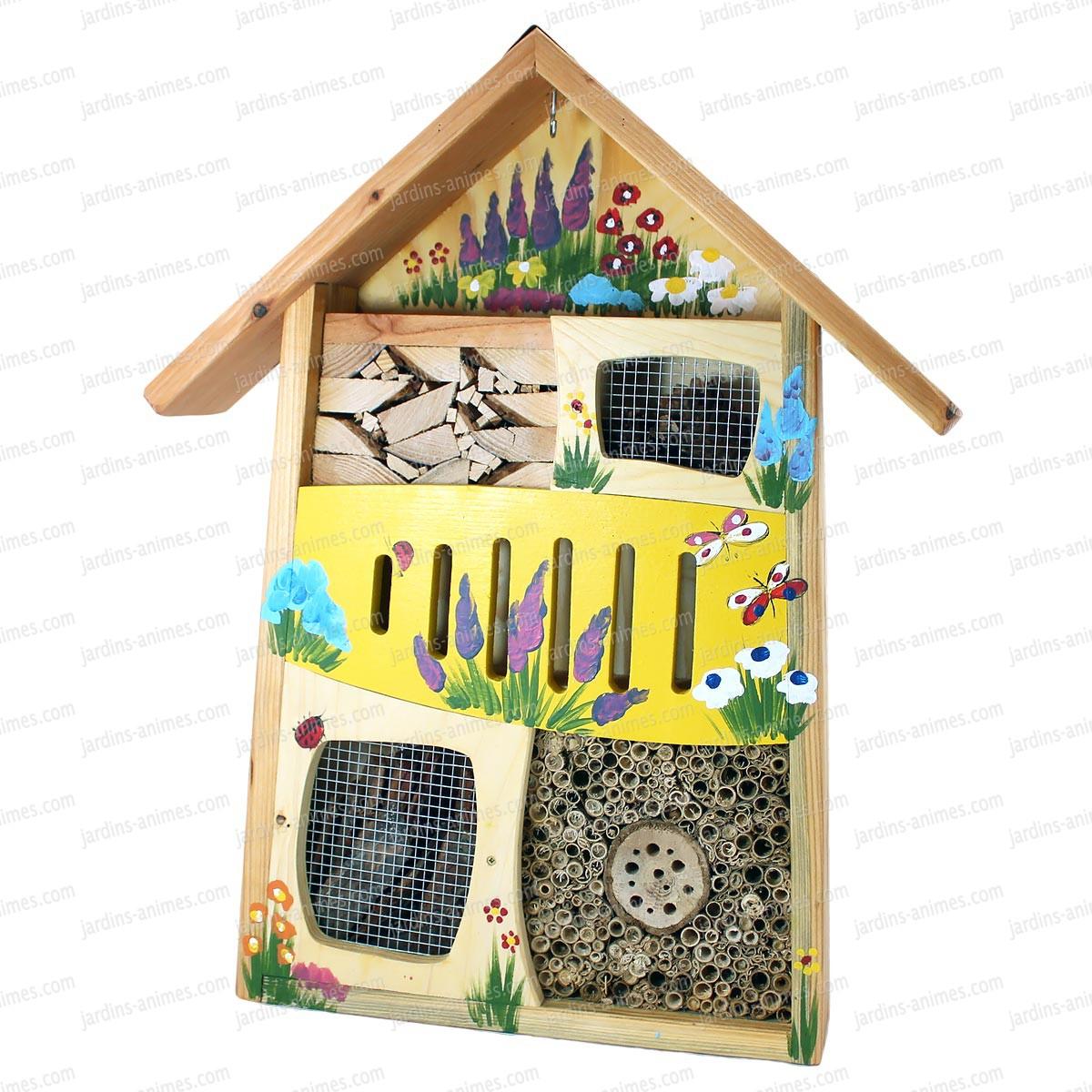 Gite pour insectes jaune maisons abris animaux - Maison a insectes fabrication ...