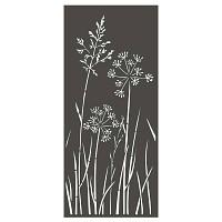 Panneau décoratif extérieur en métal H.180cm - Allium et graminées