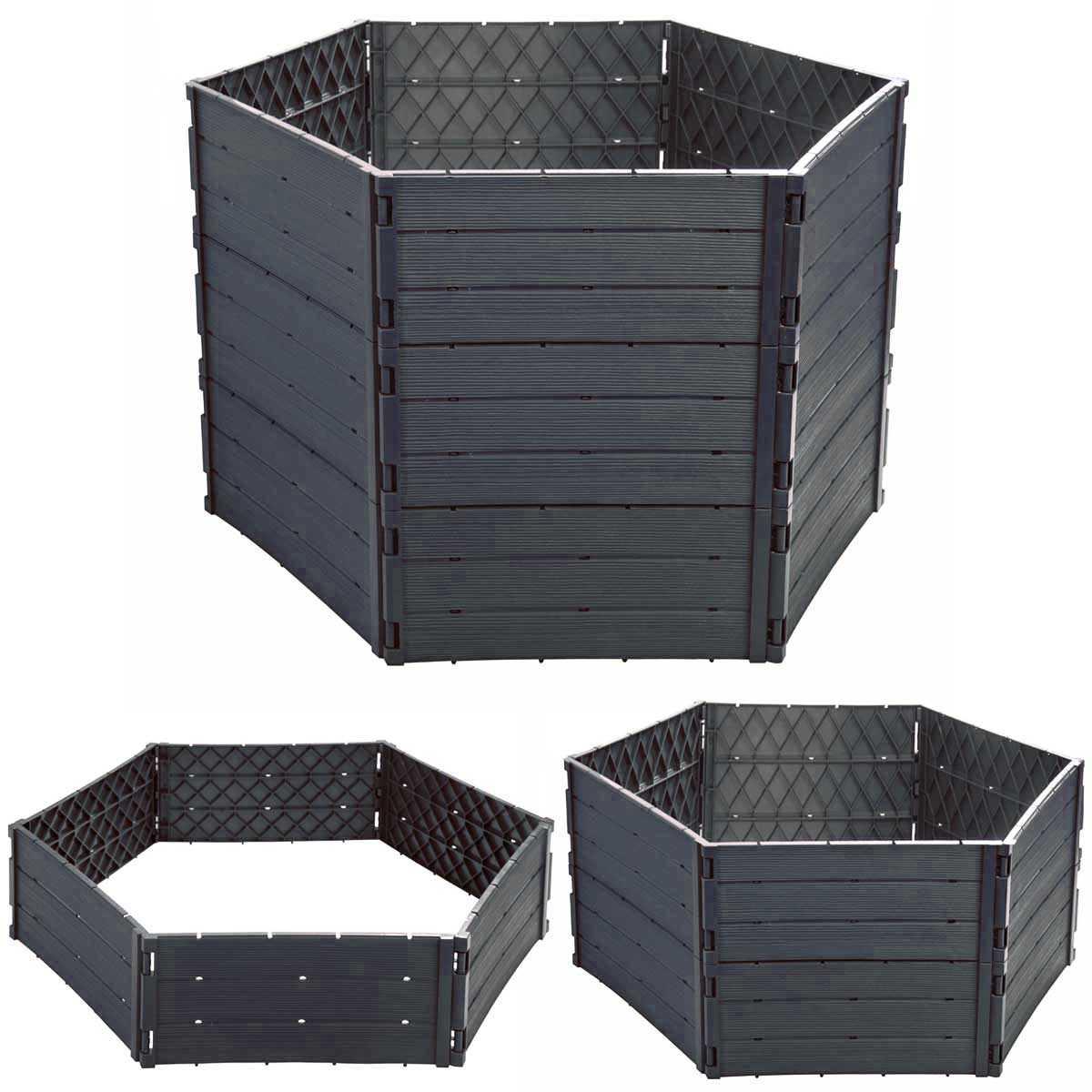 Kiosque En Bois Hexagonal carré potager hexagonal en plastique - hauteur variable
