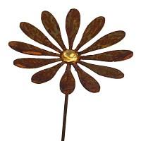 Marguerite à planter en métal rouillé - Diam. 15cm