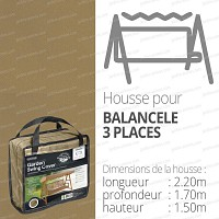 Housse bache protection balancelle 3 places long. 220cm couleur beige