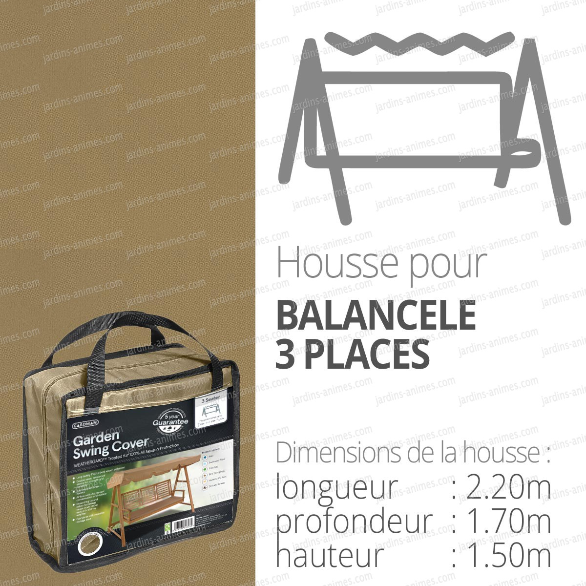 Housse bache protection balancelle 3 places long 220cm couleur beige prote - Housse klippan 3 places ...