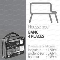Housse bache protection banc 4 places long. 190cm couleur gris