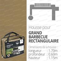 Housse bache protection barbecue long. 170cm couleur beige