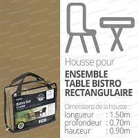 Housse bache protection table bistro rectangulaire + 2 sièges long.150cm couleur beige