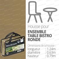 Housse bache protection table bistro ronde + 2 sièges 124x63cm couleur beige