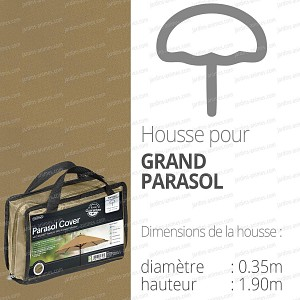 Housse bache protection grand parasol diam. 35cm couleur beige