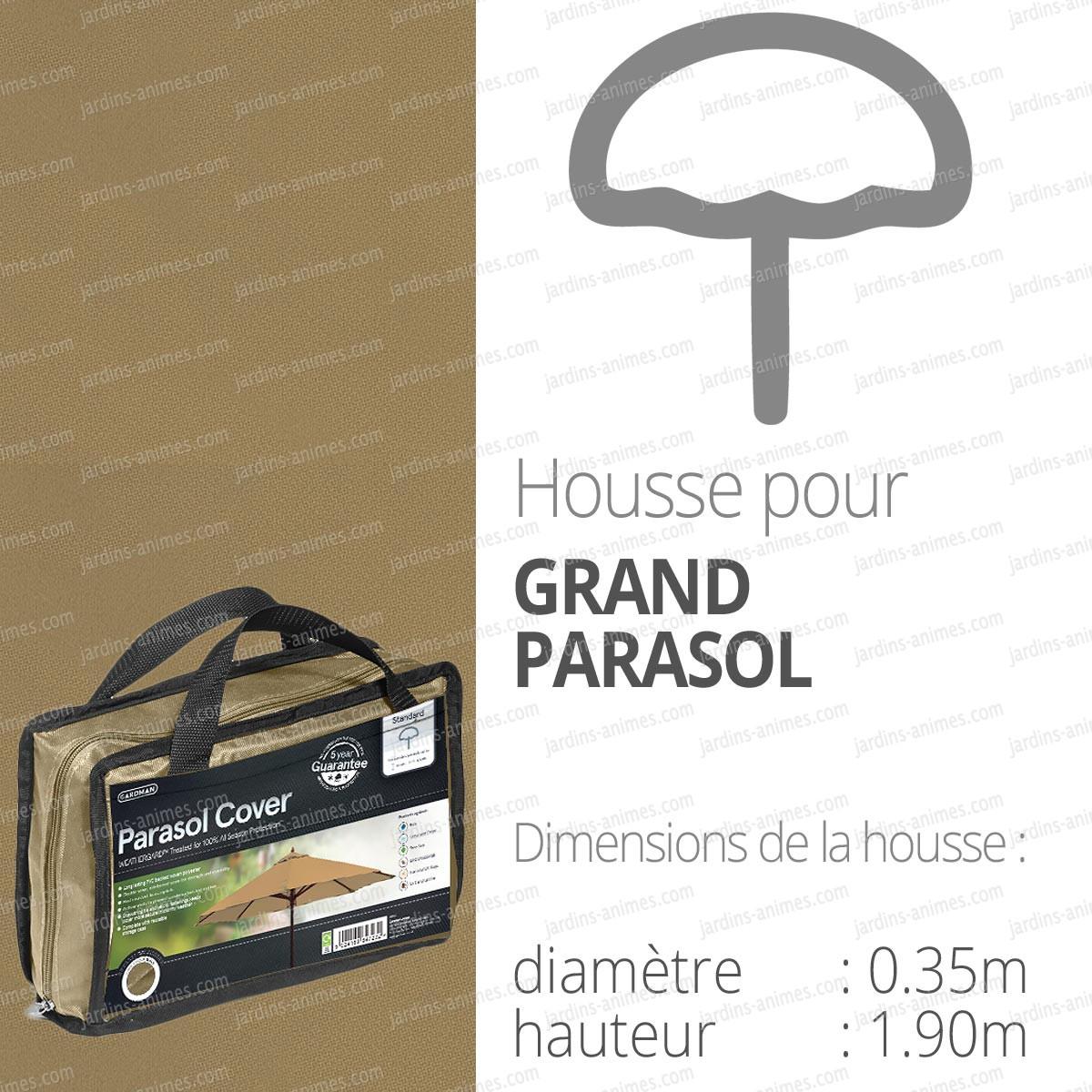 housse bache protection grand parasol diam 35cm couleur beige protection du mobilier de jardin. Black Bedroom Furniture Sets. Home Design Ideas