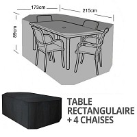 Housse bâche protection table rectangle + 4 chaises long. 215cm