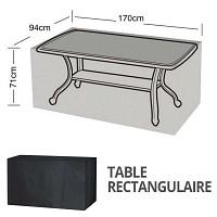 Housse bâche protection table rectangulaire 6 places long. 170cm