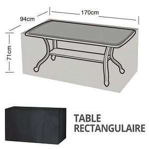 Housse bâche protection table rectangulaire 6 places long. 170cm