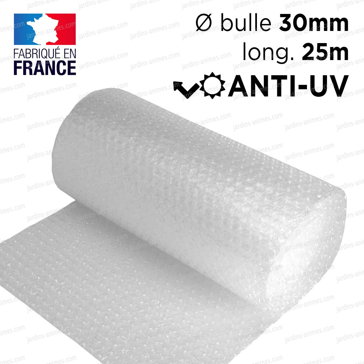 Film bulle 30mm anti uv 3 couches dim x 25m serre for Film plastique anti uv pour serre de jardin