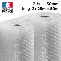 Film à bulle 30mm d'emballage pour isolation serre dim.1.5m x 50m (2 rouleaux de 25m)