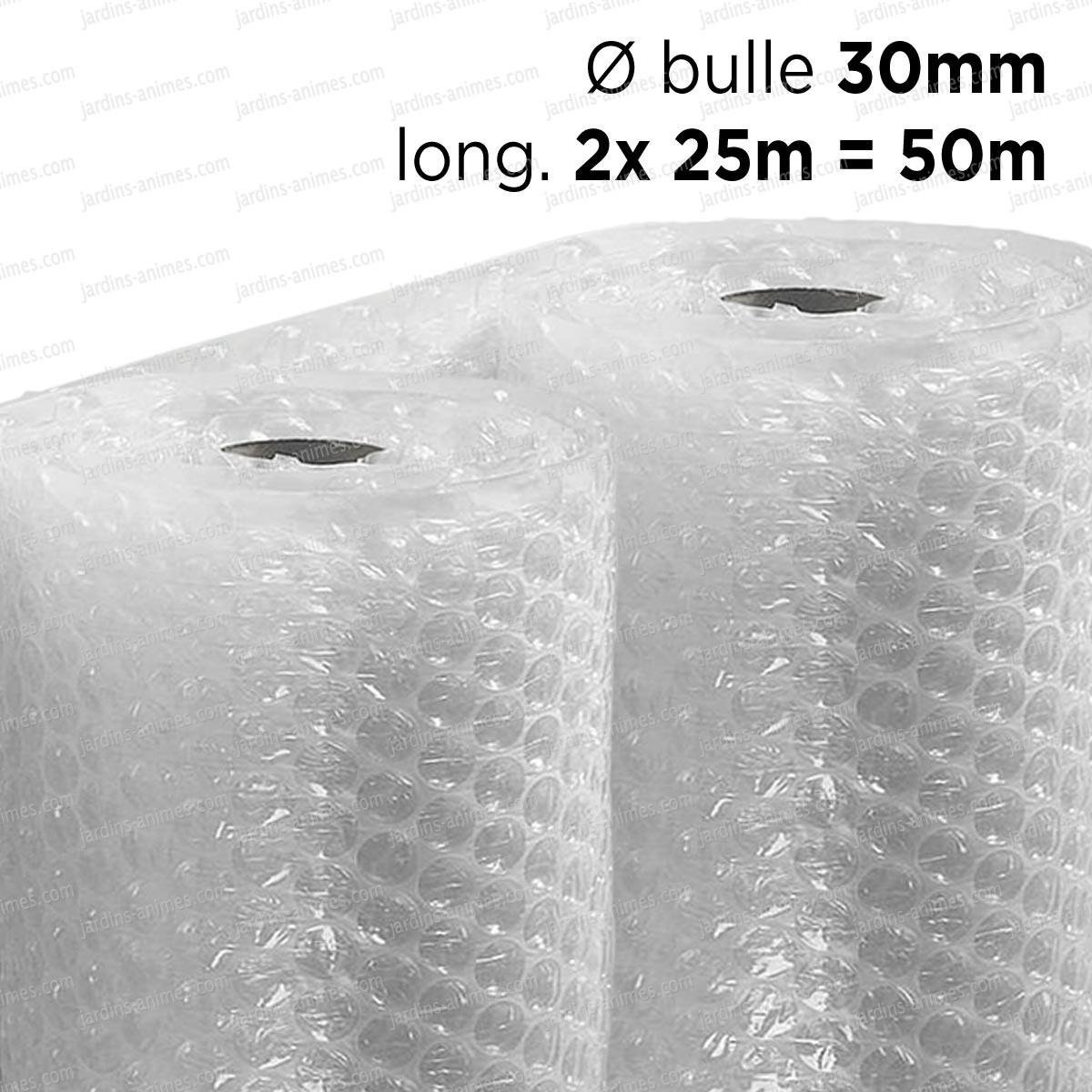 film bulle 30mm d 39 emballage pour isolation serre dim x 50m 2 rouleaux de 25m serre jardin. Black Bedroom Furniture Sets. Home Design Ideas