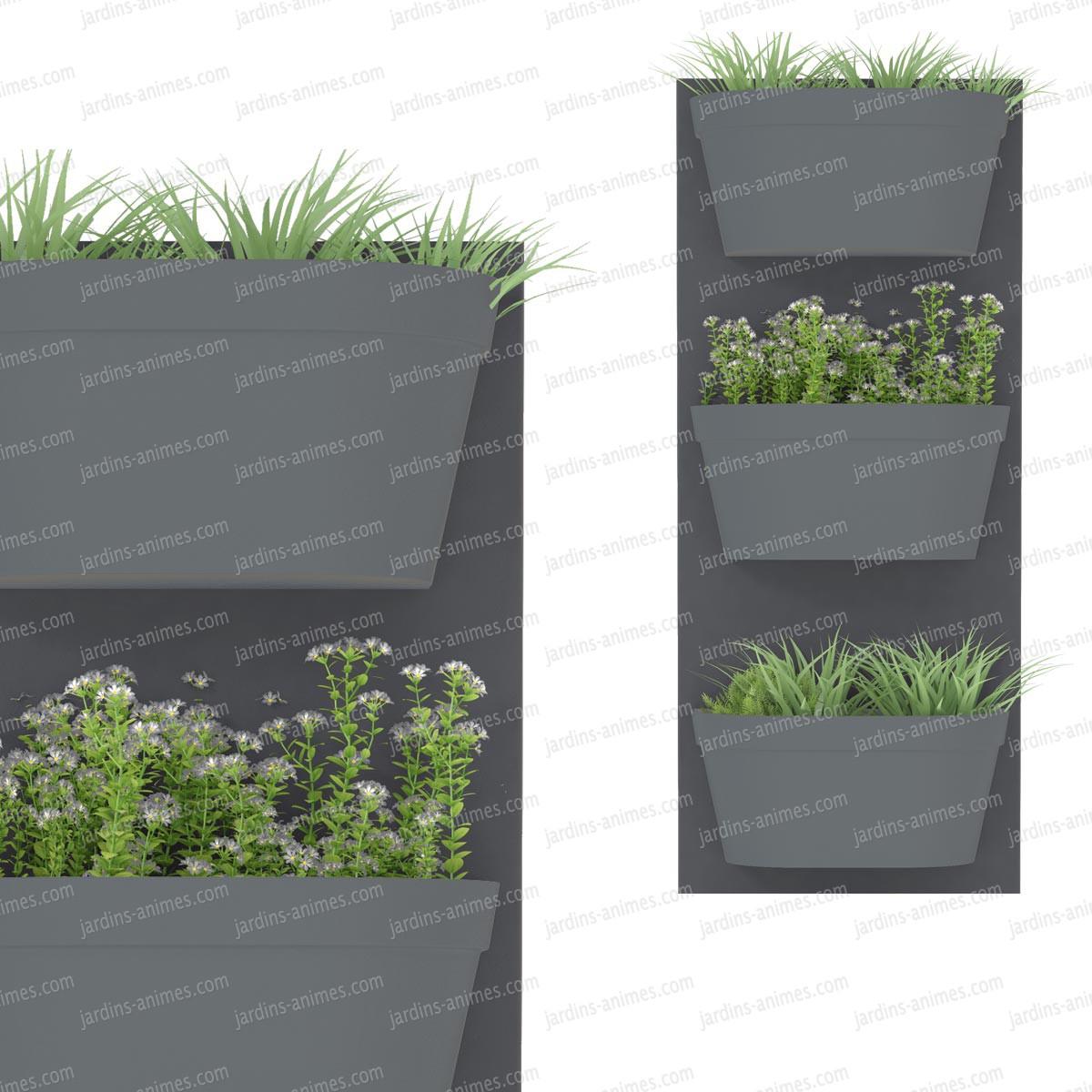 jardin vertical 3 bacs fond gris fonc bac anthracite pots de fleurs jardini res. Black Bedroom Furniture Sets. Home Design Ideas