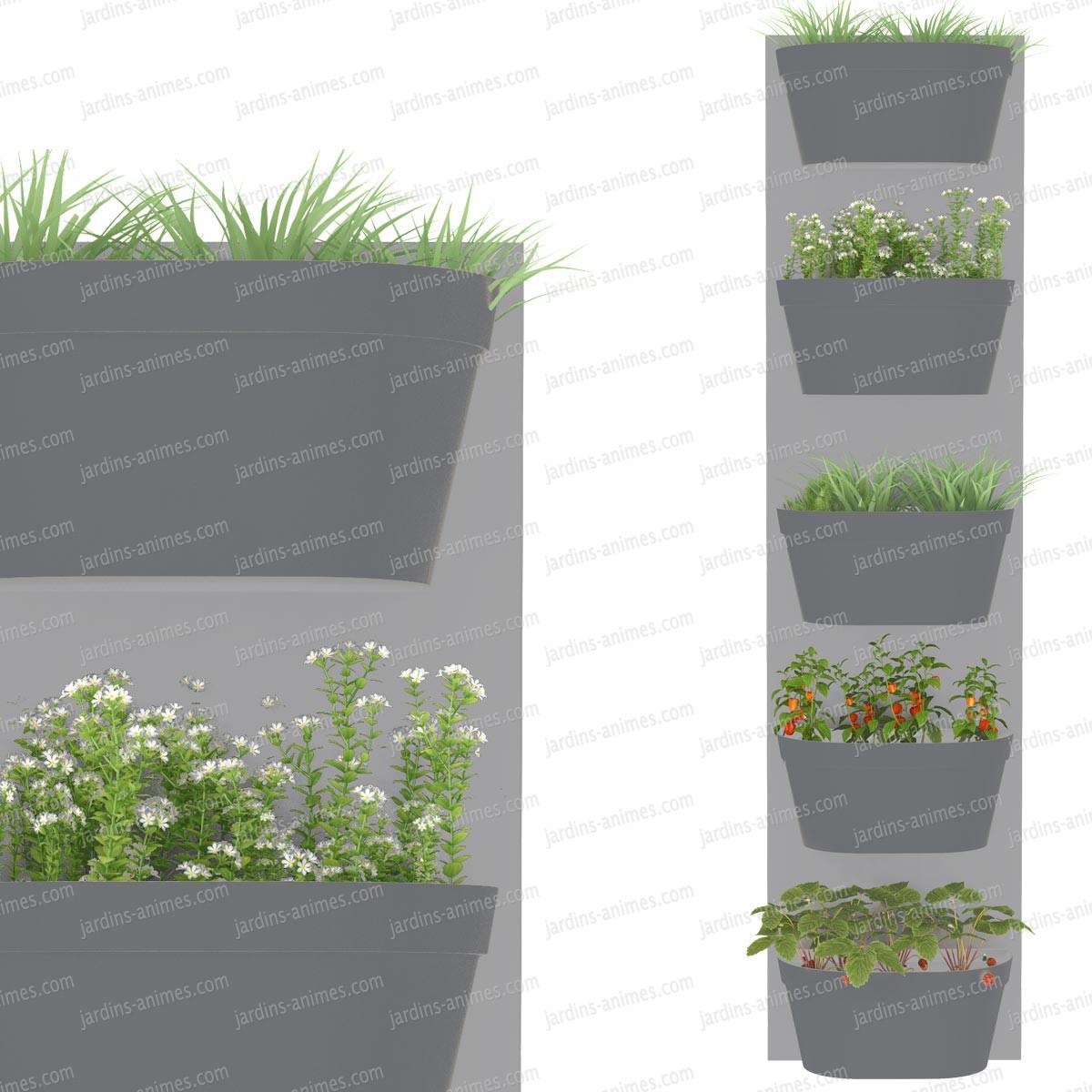 Jardin vertical 5 bacs fond gris clair bac anthracite for Jardin mur gris