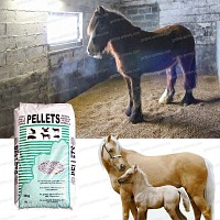 Litière pour chevaux en pellets de paille de froment