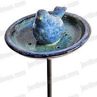 Mangeoire Oiseau Céramique email bleu