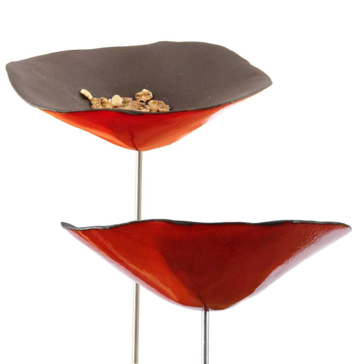 Planter Des Coquelicots Dans Son Jardin coquelicot mangeoire ou buvette en céramique rouge x1 - diam.10cm