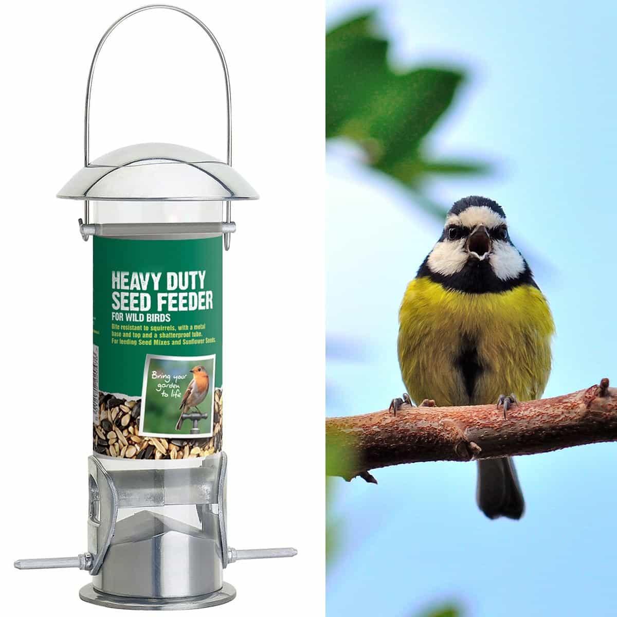 Mangeoire silo en aluminium 23cm mangeoires bains d 39 oiseaux - Oiseaux metal pour jardin ...