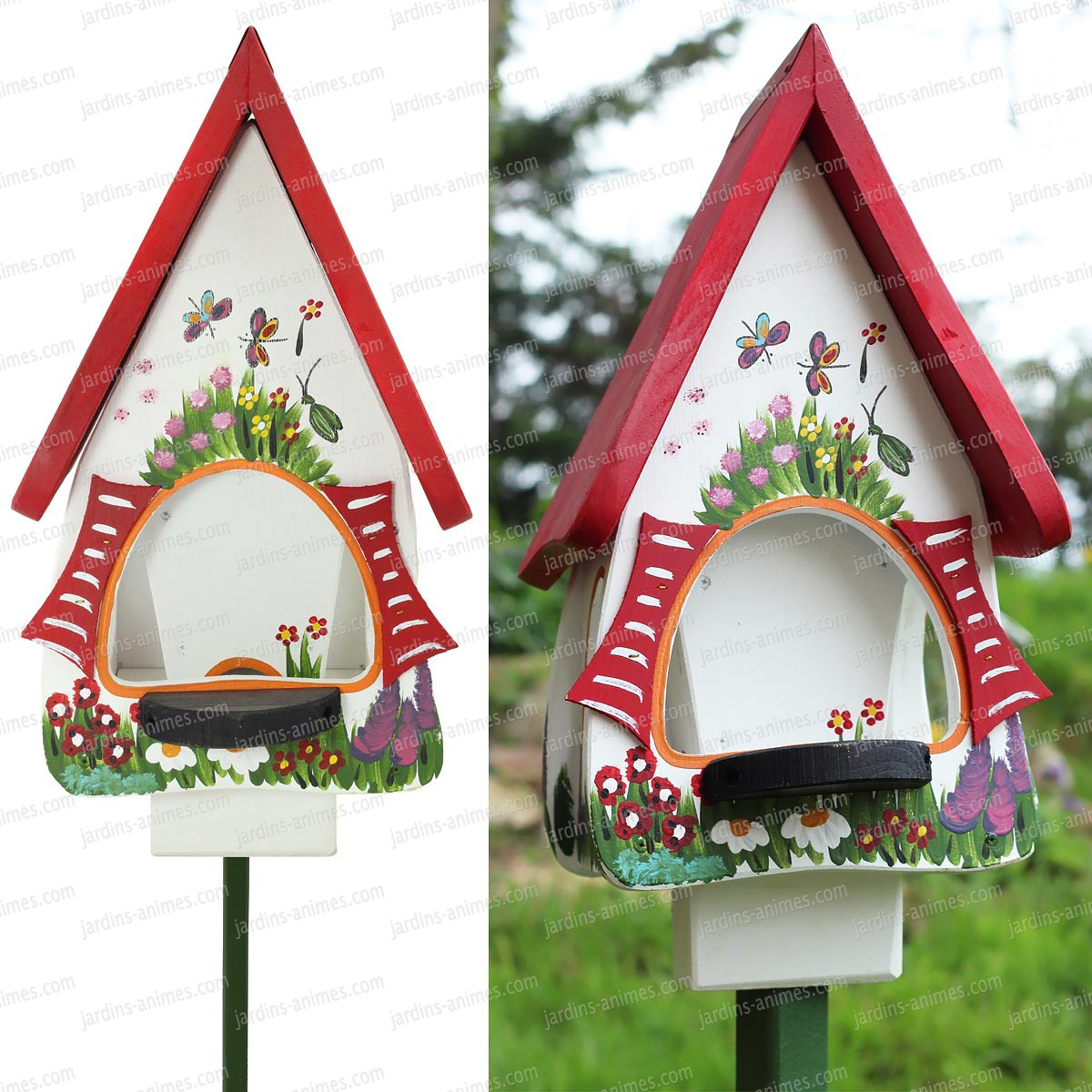 Mangeoire jardin magique blanc mangeoires bains d - Mangeoire a oiseau ...