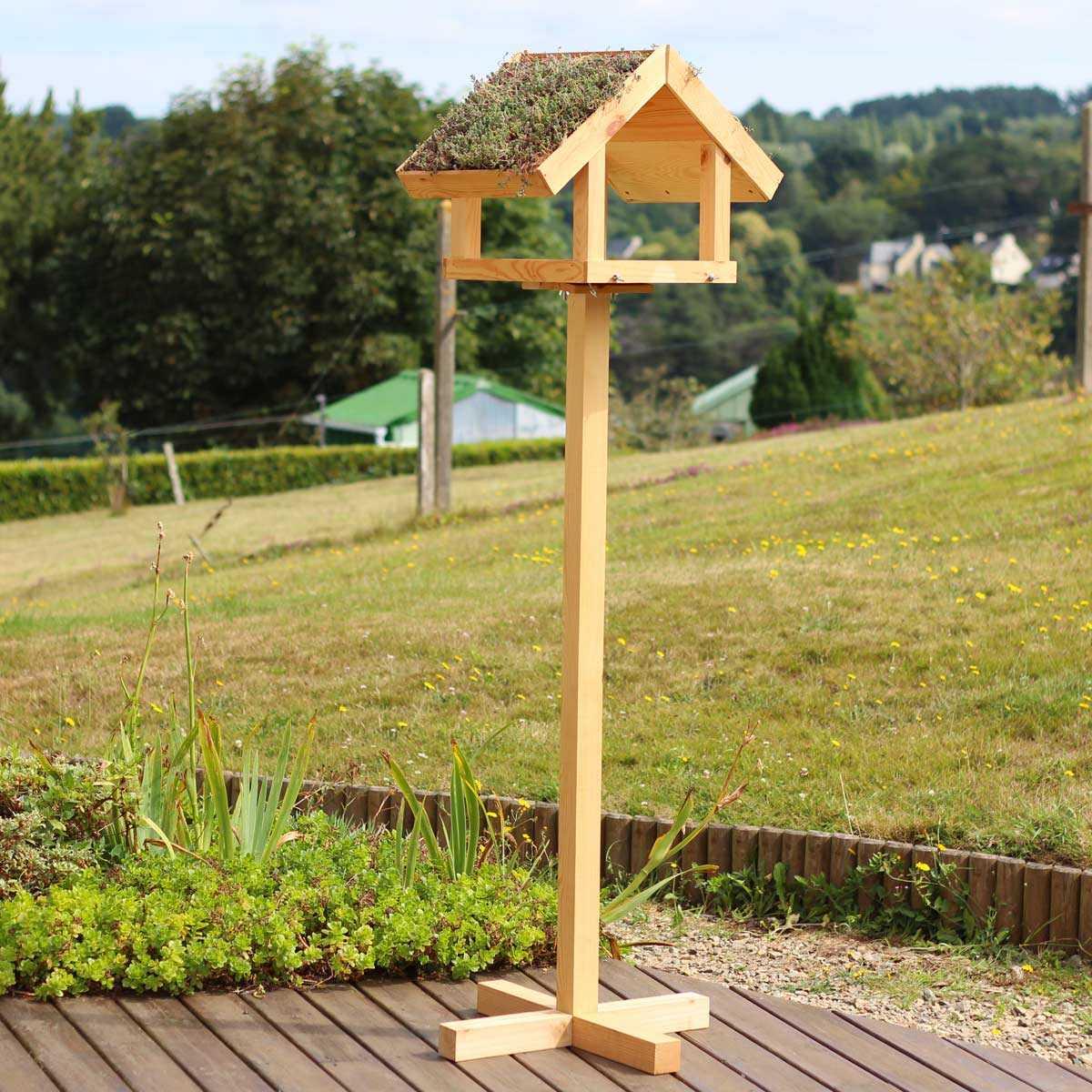 Brise Vue Bois Sur Pied mangeoire pour oiseaux en bois sur pied - toit végétal