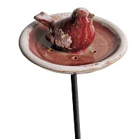 Mangeoire Oiseau Céramique email rose