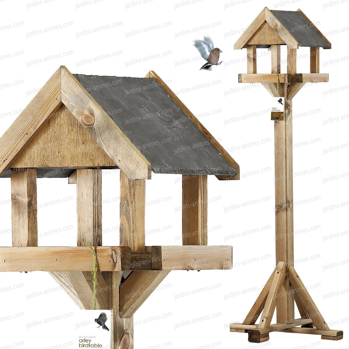 Mangeoire sur pied toit ardoise mangeoires bains d 39 oiseaux - Plan balancoire en bois gratuit ...