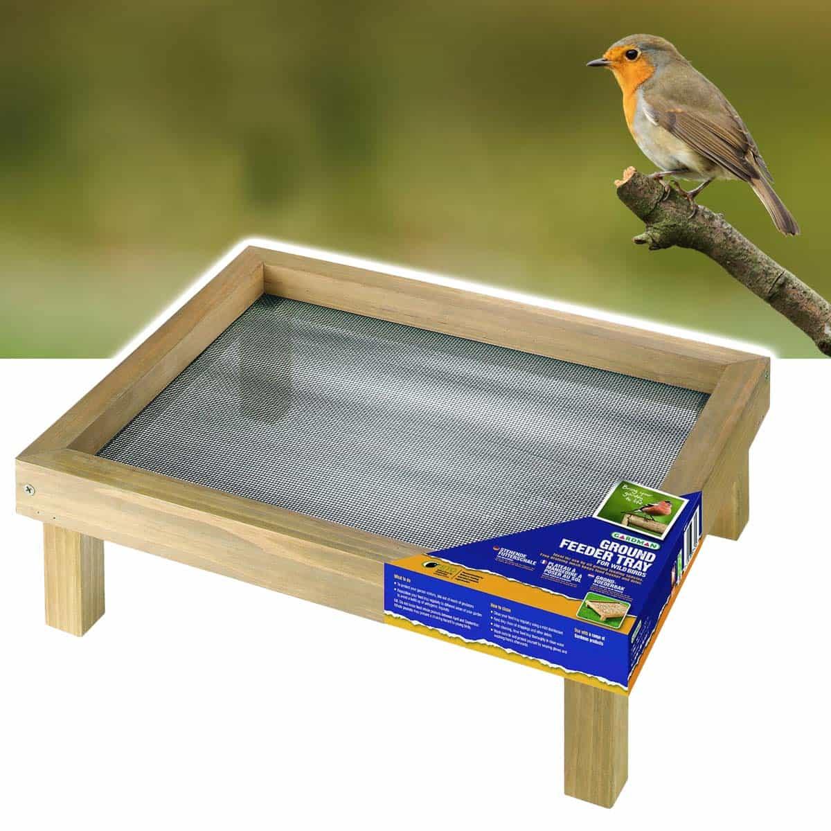Mangeoire de sol en bois pour h rissons et oiseaux for Plan de mangeoire pour oiseaux du jardin