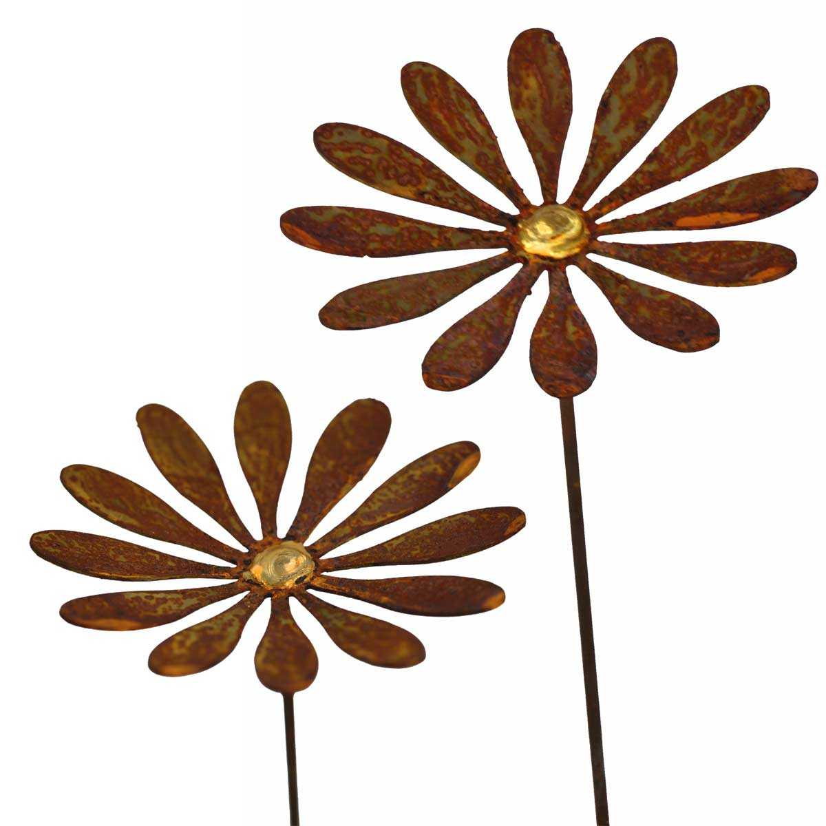 fleur de marguerite planter en m tal rouill objets. Black Bedroom Furniture Sets. Home Design Ideas