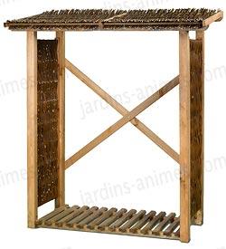 Abri pour bois de chauffage en osier et pin fsc mobilier de jardin - Bois de chauffage chez castorama ...