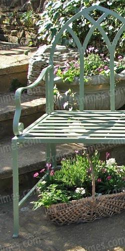 Banc de jardin arche gothique en fer couleur vert for Banc anglais jardin