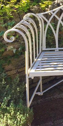 Banc de jardin kiftsgate en fer couleur ivoire mobilier - Banc jardin fer forge ...