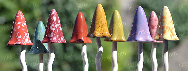 Lot de 3 champignons céramique Eté - Figurines décoratives