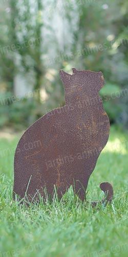 silhouette chat regardant en l 39 air d co de jardin en m tal silhouettes d co en m tal. Black Bedroom Furniture Sets. Home Design Ideas