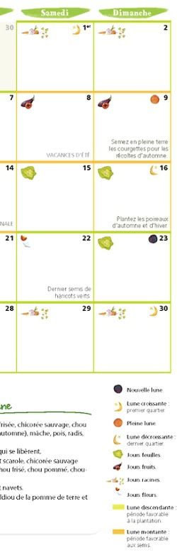 calendrier 2017 du potager bio jardinez avec la lune livres jardin bio. Black Bedroom Furniture Sets. Home Design Ideas
