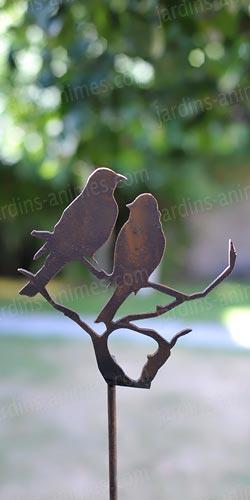Silhouette oiseaux sur branche d co de jardin en m tal objet et silhouette d co en m tal - Oiseaux metal pour jardin ...