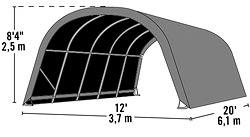 Abri en toile pour chevaux de 22.6m2 larg. 3.70m x long