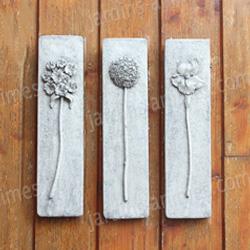plaques murales d coratives fleurs lot de 3 figurines. Black Bedroom Furniture Sets. Home Design Ideas