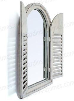 Miroir en bois 2 portes blanc ivoire mobilier de jardin for Miroir de porte a suspendre