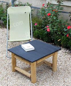 table basse en ardoise et tabouret de jardin mobilier de jardin. Black Bedroom Furniture Sets. Home Design Ideas