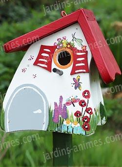 Nichoir jardin magique blanc nichoirs pour oiseaux for Oiseau decoration jardin