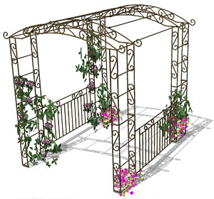 Arche évolutive transformable en pergola avec portillon, balustrade...