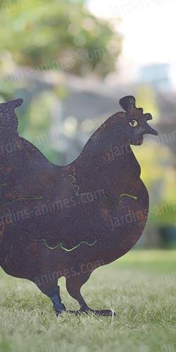 silhouette poule d co de jardin en m tal silhouettes d co en m tal. Black Bedroom Furniture Sets. Home Design Ideas