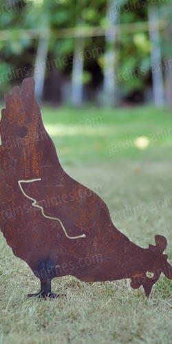 Silhouette poule qui picore d co de jardin en m tal for Objet deco jardin metal